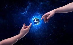 Dient ruimte wat betreft aarde in Stock Afbeeldingen