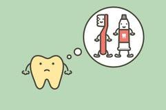 Diente amarillo que piensa en el cepillo de dientes y la crema dental, placa dental Imagenes de archivo