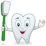 Diente con el carácter del cepillo de dientes Foto de archivo