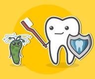 Diente con el cepillo de dientes y la bacteria Imagen de archivo