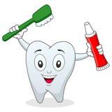 Diente con el cepillo de dientes y la crema dental Imagen de archivo libre de regalías