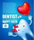 Diente de Helthy con crema dental brillante Personaje de dibujos animados Plantilla del diseño de la estomatología con el arco y  Foto de archivo libre de regalías