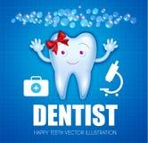 Diente de Helthy con crema dental brillante Personaje de dibujos animados Plantilla del diseño de la estomatología con las burbuj Imagen de archivo
