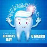 Diente de Helthy con crema dental y burbujas Personaje de dibujos animados Plantilla del diseño de la estomatología Concepto dent Imagen de archivo