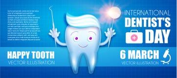 Diente de Helthy con crema dental y el espejo brillante Personaje de dibujos animados Plantilla del diseño de los instrumentos de Fotos de archivo libres de regalías