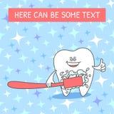 Diente de la historieta con un cepillo de dientes y una crema dental Diente sonriente Ejemplo dental en modelo incons?til con las stock de ilustración