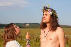Diente de león de la semilla del soplo del hippie Fotografía de archivo libre de regalías