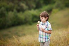 Diente de león que sopla del muchacho Fotografía de archivo libre de regalías