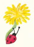 Diente de león y ladybug Foto de archivo libre de regalías