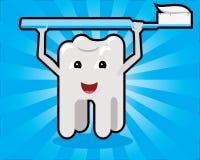 Diente que lleva a cabo concepto de la historieta del cepillo de dientes Imagenes de archivo