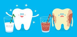 Diente sano de la historieta con un diente de la leche y de la cavidad con una soda Ejemplo del cuidado dental y de la higiene ilustración del vector