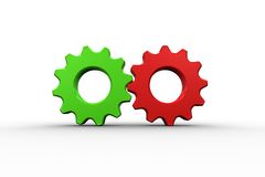 Diente y rueda rojos y verdes Imágenes de archivo libres de regalías