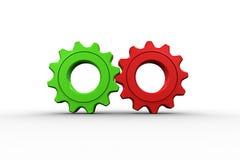 Diente y rueda rojos y verdes Fotos de archivo