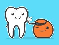 Diente y seda dental Fotos de archivo libres de regalías