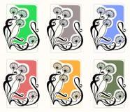 Dientes de león de la vendimia, conjunto Fotos de archivo