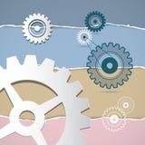 Dientes del vector, engranajes en fondo de papel rasgado Imagen de archivo libre de regalías