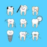 Dientes felices fijados Caracteres lindos del diente Ejemplo dental del vector del personaje Concepto dental para su dise?o ilustración del vector