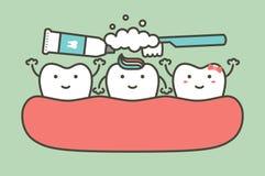Dientes, muchacho del diente y muchacha de cepillado limpiándolos amigo ilustración del vector