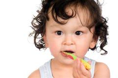 Dientes que aplican con brocha. Imagen de archivo libre de regalías