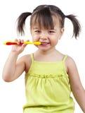 Dientes que aplican con brocha de la muchacha Imagen de archivo