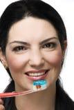 Dientes que aplican con brocha y sonrisa Imágenes de archivo libres de regalías
