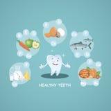Dientes sanos felices Nutrición apropiada Alimentos sanos Sonrisa hermosa Vector Ejemplo para la odontología de niños Fotografía de archivo