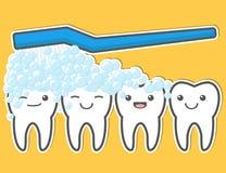 Dientes y cepillo de dientes lindos felices Imagen de archivo