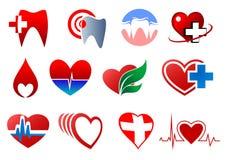 Dientes y corazones de la historieta para el diseño de la odontología Imagenes de archivo