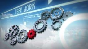 Dientes y ruedas que dan vuelta contra interfaz