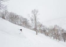 Diep poeder die in Niseko, Japan ski?en royalty-vrije stock afbeelding
