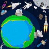 Diep ruimteplaneetconcept, beeldverhaalstijl stock illustratie