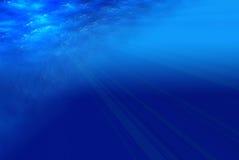Diepe blauwe overzeese mening Stock Afbeeldingen