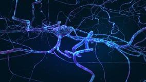 Diepe blauwe ruimte met neuronen, 3D animatie royalty-vrije illustratie
