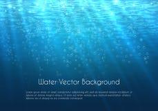Diepe blauwe water vectorachtergrond met bellen royalty-vrije illustratie