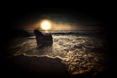 Diepe donkere zonsondergang Royalty-vrije Stock Foto's