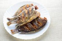 Diepe Fried Tilapia-vissen royalty-vrije stock foto's