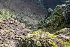 Diepe interessante mening in de vulcan Vesuvius stock foto