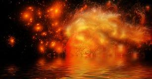 Diepe kosmische ruimte met het branden van planeet royalty-vrije illustratie