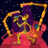 Diepe ruimte Robotsplaneet De robot drinkt olie stock illustratie