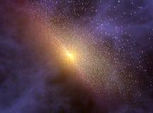 Diepe ruimteachtergrond met melkweg het roteren Royalty-vrije Stock Afbeeldingen