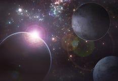 Diepe ruimteexoplanetillustratie Stock Afbeeldingen