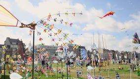 DIEPPE, FRANCE - SEPTEMBER 11, 2018: The colorful pinwheel for Kite festival