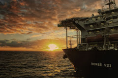 Diepzeeboorschip NORBE VIII Stock Foto's