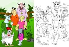 Dier-koe-geit-hond-kat-muis-kip Stock Foto