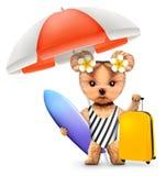 Dier in zwempak met paraplu, bagage en branding Stock Foto's