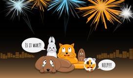 Dieren bang van luide klappen en fluitjes Het vuurwerk maakt spanning tijdens yearend vieringen Hond, konijntje, kat, eekhoorn en royalty-vrije illustratie