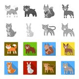 Dieren, binnenlands, wild en ander Webpictogram in zwart-wit, vlakke stijl Dierentuin, speelgoed, kinderen, pictogrammen in vastg Stock Foto's