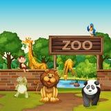 Dieren in de dierentuin royalty-vrije illustratie
