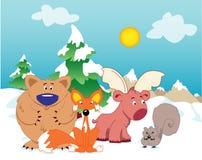 Dieren in de sneeuw Stock Afbeelding