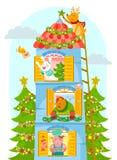Dieren die van Kerstmis genieten Stock Afbeelding